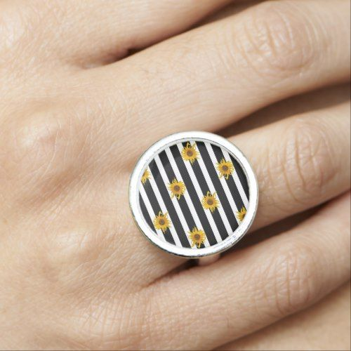 Sunflowers on Black and White Stripes Ring - stripes gifts cyo unique style