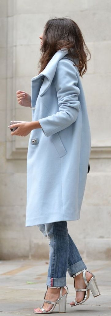 #street #style / baby blue coat + denim