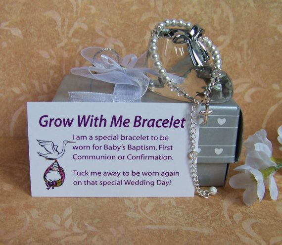 """Christening Bracelet Baby Girl Grow With Me on Etsy, $38.00 your baby wears this on baptism, 1st communion & confirmation. When its wedding day your little girl wears it. You can buy one for your son it's in blue & just like the girls bracelet he wears it except on his wedding day. It will be given to the bride as """"something blue"""" (the boys bracelet is blue)"""
