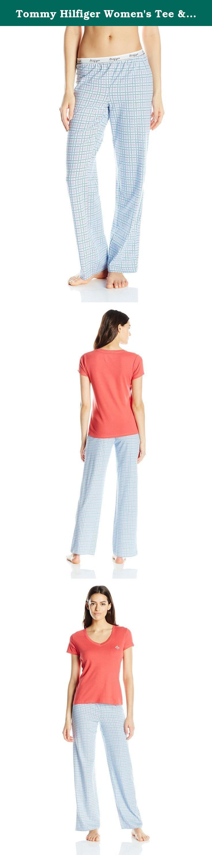 Tommy Hilfiger Women's Tee & Logo Pant Set , Chrysanthemum/Summertide Plaid, Large. Every Tommy girl will love these cute, classic, and comfortable pajama sets. In four beautiful, fun prints, there's a Tommy Hilfiger pajama for every special girl in your life.