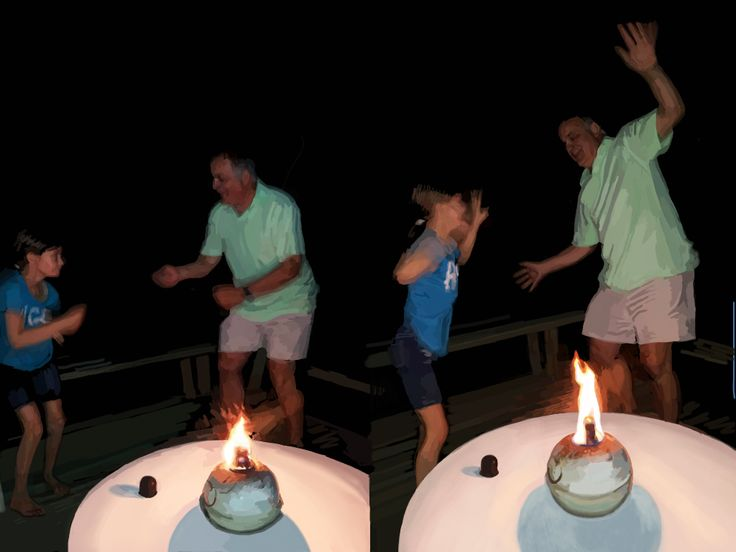 My Brother Mark and his Daughter Dancing  This is on the front deck at the cottage. I think she's giving him lessons.