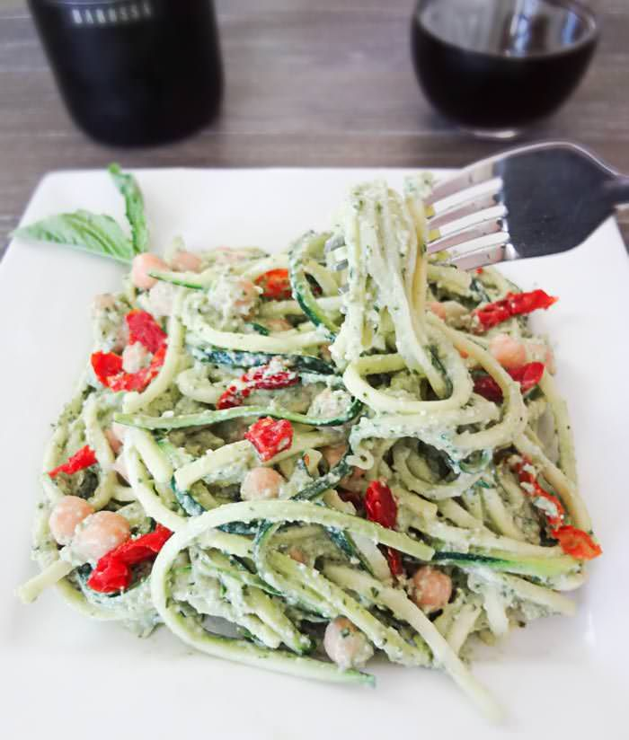 Zucchini Pasta with Avocado Pesto - Made this for dinner and it is one of the most delicious meals of my life.
