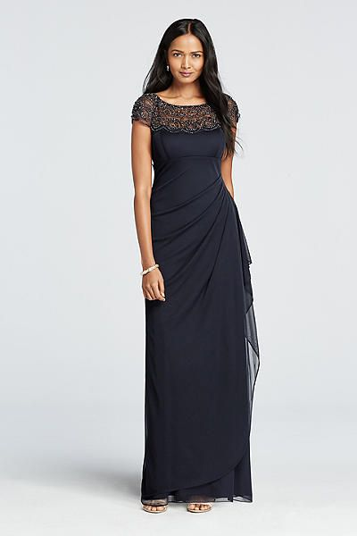 Cap Sleeve Beaded Illusion Neckline Dress XS4843