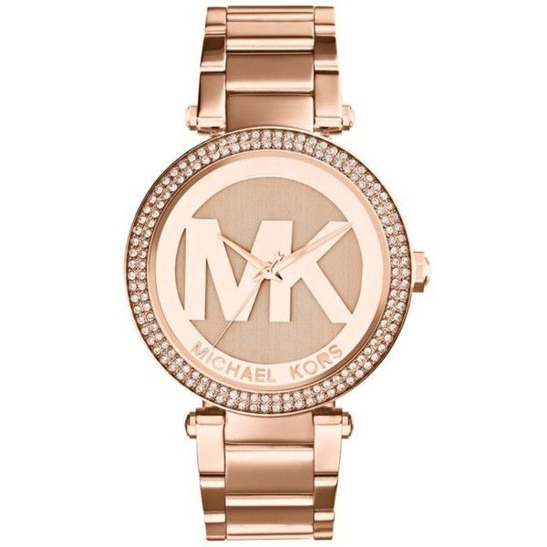 Michael Kors Rose Gold Mid-Size Rose Gold-Tone Stainless Steel Parker... ($250) ❤ liked on Polyvore featuring jewelry, watches, accessories, bracelets, relogio, rose gold, dial watches, oversized wrist watch, michael kors watches and red gold jewelry