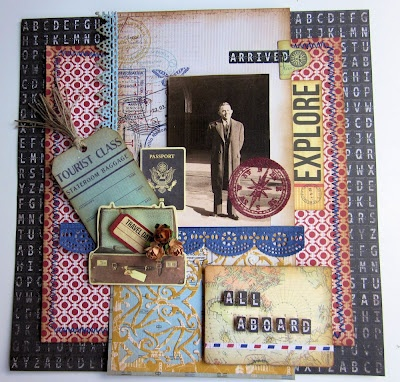 Layout featuring Kaisercraft papers (Check In Collection), Cheery Lynn Designs dies by Gini Williams Cagle