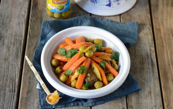 Tajine de boeuf aux carottes, citron confit et olives vertes #recette #tajine