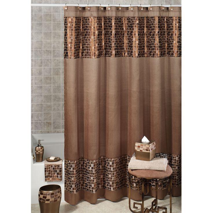 Bronze Mosaic Stone Fabric Shower Curtain Elegant Shower