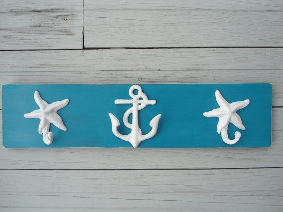 3 beach coat hooks,anchor, starfish, seahorse, mermaid, sand dollar, home and garden, bathroom towel racks, available in 26 colors