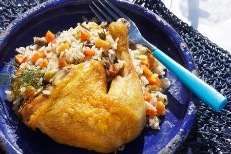 Κότα γεμιστή με καλοκαιρινό ριζότο