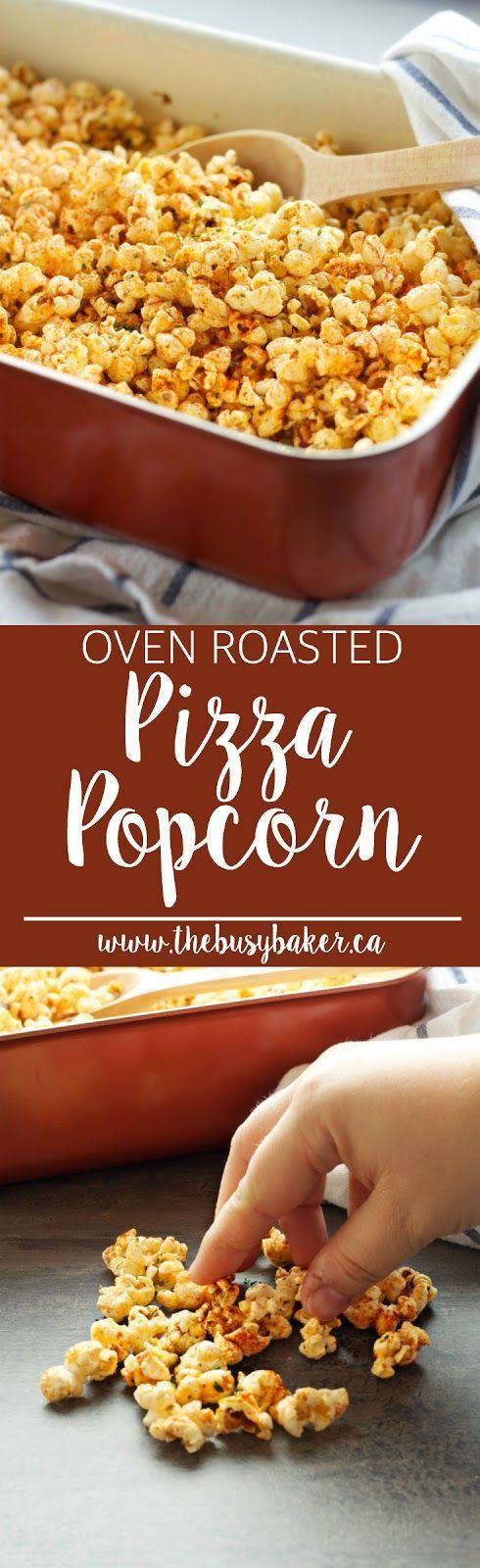 This Oven Roasted Pizza Popcorn is SO flavourful and easy to make! Makes a great edible gift! Recipe from http://www.thebusybaker.ca