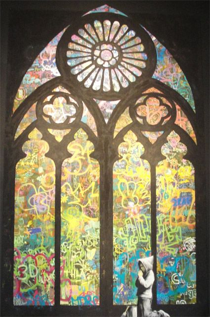 Banksy Stained Window