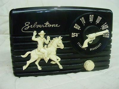 Vintage Silvertone radio with cowboy and gun, vintage cowboy