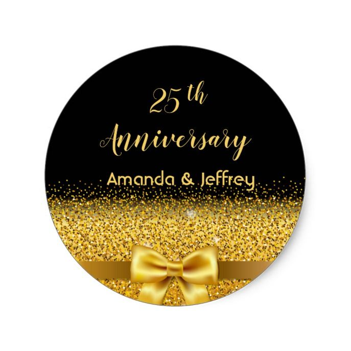 25th Wedding Anniversary Golden Bow Black Names Classic Round
