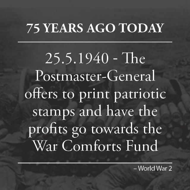 The Postmaster-General Mr Throsby offers to print and issue patriotic war stickers for any recognised body willing to support the idea. The money from the stamps would go towards the War Comfort Funds. In New Zealand, charity stamps had been released regularly since 1929 and these were found to be very profitable.