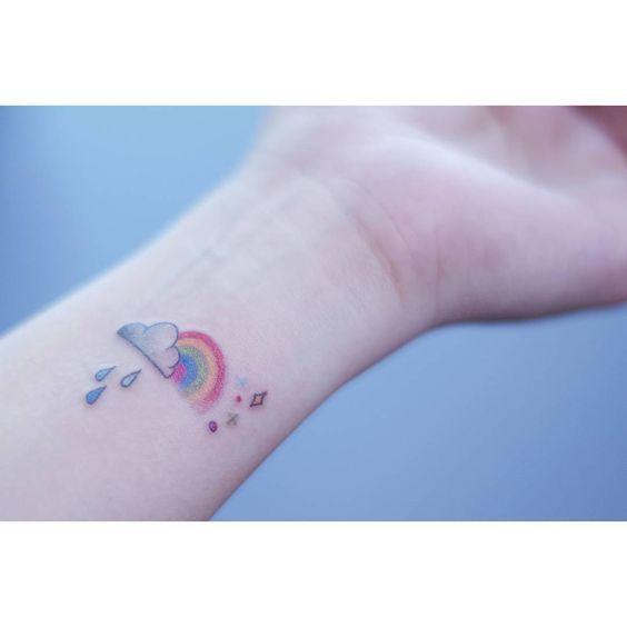 45 Rainbow Tattoos for the Colourful You Mini Tattoos, Baby Tattoos, Little Tattoos, Funny Tattoos, Small Tattoos, Pretty Tattoos, Love Tattoos, Unique Tattoos, Beautiful Tattoos