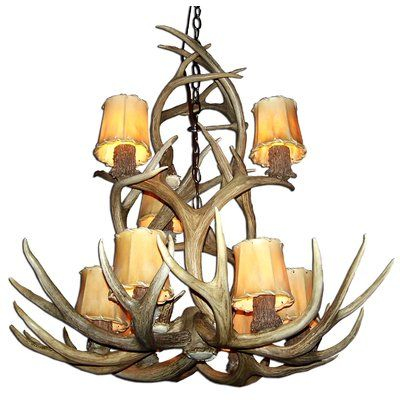 Doliya Antler Mule Deer 9-Light Candle-Style Chandelier Finish: Black/Natural Brown, Shade Color: Rawhide, Shade Included: Yes - http://chandelierspot.com/doliya-antler-mule-deer-9light-candlestyle-chandelier-finish-blacknatural-brown-shade-color-rawhide-shade-included-yes-739781053/