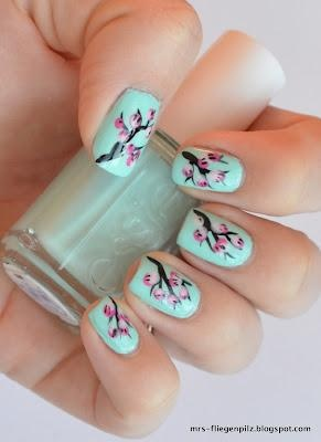 Cherry Blossom Nails <3  with essie Mint Candy Apple