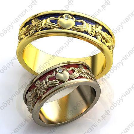 $700 за два кольца 50000 руб Парные ирландские золотые обручальные кольца в виде короны с цветной эмалью и бриллиантами