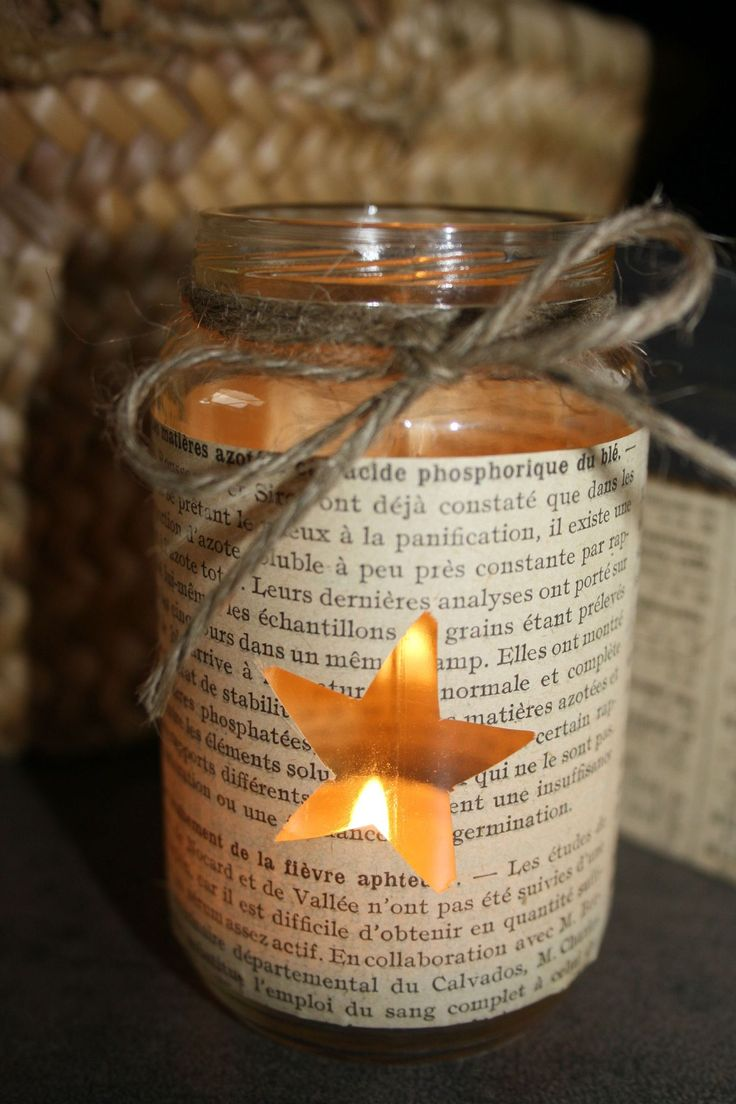 Mason jar - take a page from a book, cut out a shape and mod podge it to the jar or tie with twine