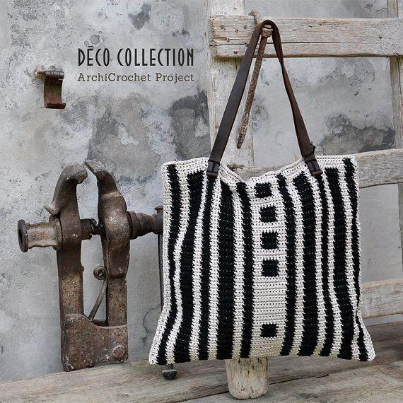 Shopper bag, tote bag leather handles, handmade shopping cotton bag, italian handbag geometric design tapestry crochet