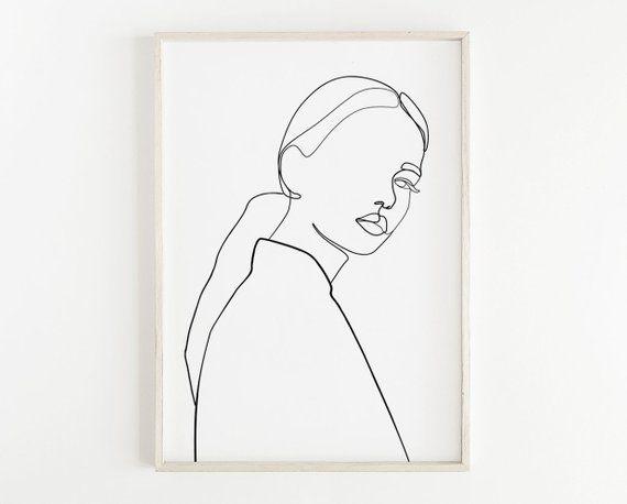 Fashion wall art, One line drawing woman, Beauty print, Hand drawn art, Woman illustration, Line art women, Black and white wall art, Sketch
