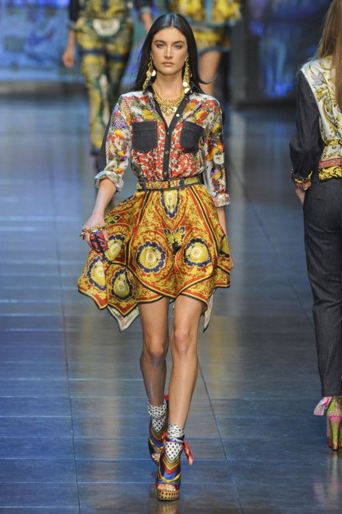 .: Outfits, Summer Dresses, Mixed Patterns, Milan Fashion Week, Colors Combinations, Dolce & Gabbana, Spring 2012, Bold Colors, Patterns Mixed
