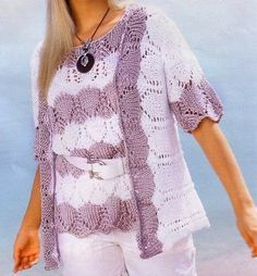Crea una leggerissima giacca a strisce bianche e lilla con i lavori a maglia