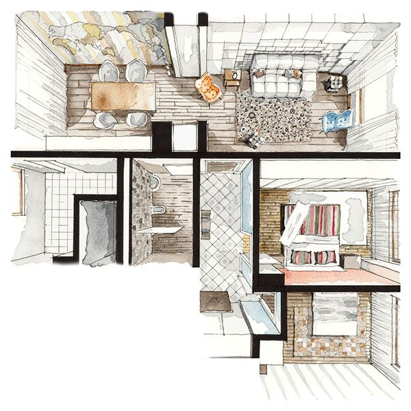 birds eye view perspective marker interior sketch highlights the full space with depth