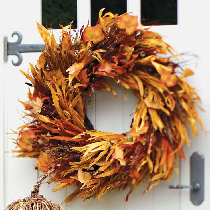Cornstalk And Leaf Wreath