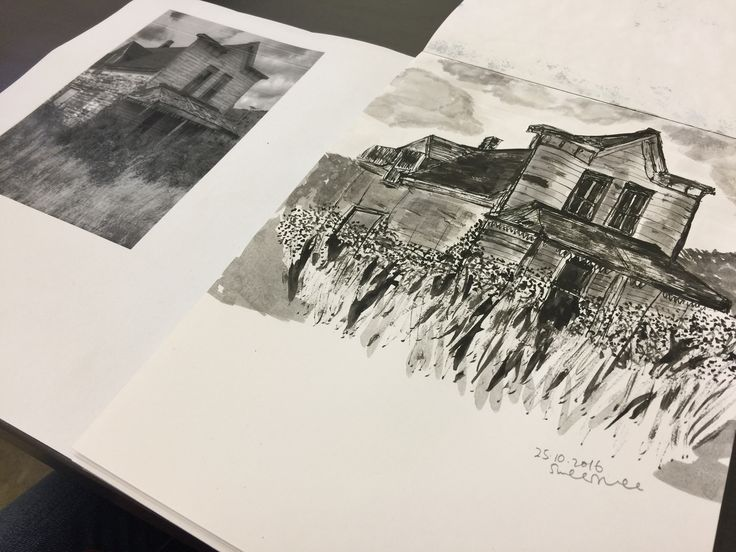 Old farm house using ink