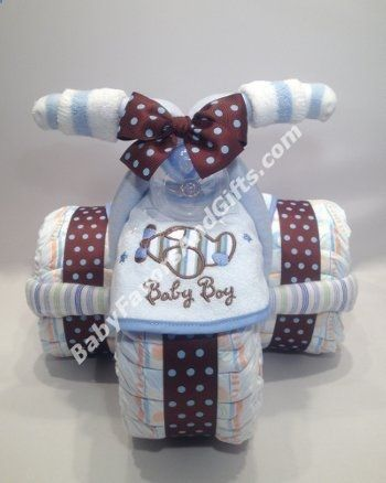 Tricycle Diaper Cake for Boy - Baby Boy Diaper Cakes - Unique baby shower gift ideas