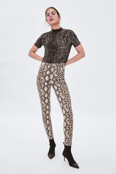 ad541e2d Image 1 of SKINNY SNAKESKIN PRINT JEANS from Zara | Animal Prints ...