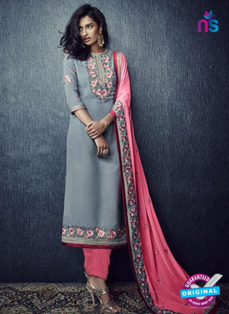 SC 13424 Gray and Pink Designer Exclusive Party Wear Fancy Straight Suit