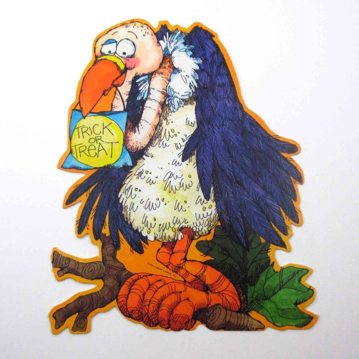 Vintage Vulture Bird Halloween Decoration or by grandmothersattic