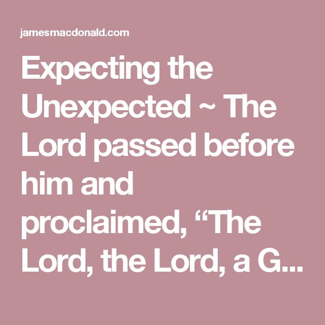 "Expecting the Unexpected ~ The Lord passed before him and proclaimed, ""The Lord, the Lord, a God merciful and gracious, slow to anger, and abounding in steadfast love and faithfulness, keeping steadfast love for thousands, forgiving iniquity and transgression and sin"" (Exodus 34:6–7, esv). [...]"