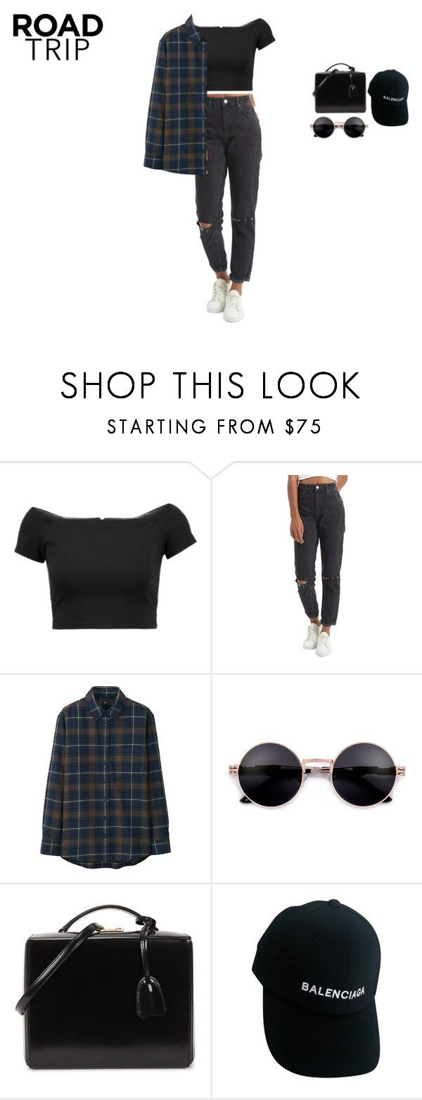 """straight up"" by xoxotiffvni on Polyvore featuring Alice + Olivia, Topshop, Uniqlo, Mark Cross and Balenciaga"