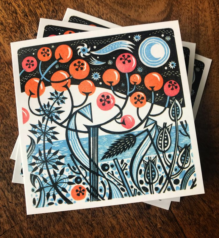 Angie Lewin's 'Winter Berries' wood engraving features on the 2017 Society of Wood Engraving Christmas card http://www.woodengravers.co.uk/swe-christmas-card-by-angie-lewin/