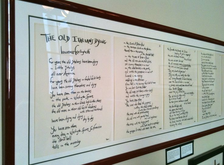 """North Beach Beat Poet Lawrence Ferlinghetti's poem """"The Old Italians Dying"""" Exhibit: Rare North Beach History 