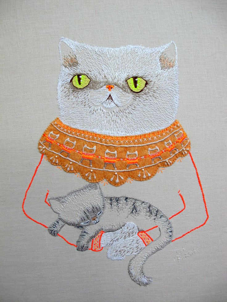 Embroidered cat.