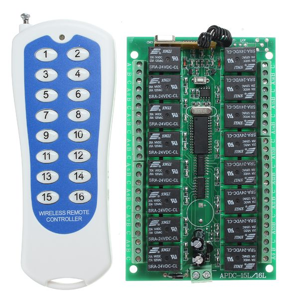 Dc 24v 16ch Channel Wireless Rf Remote Control Switch With Transmitter For Smart Home Module Board From Electronic Components Supplies On Banggood Com Wireless Remote Remote Control