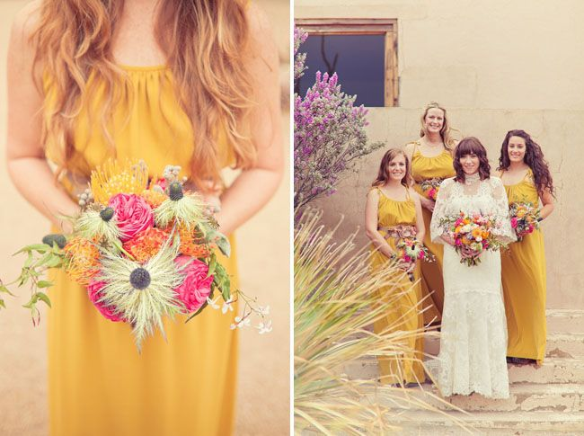 Love these mustard bridesmaids dresses from this Marfa wedding