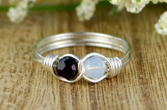Any Two Birthstone Infinity Ring Sterling Silver Yellow or