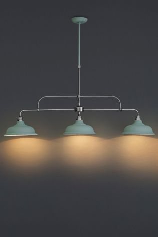 Blue And Pewter Oxford 3 Light Linear Pendant