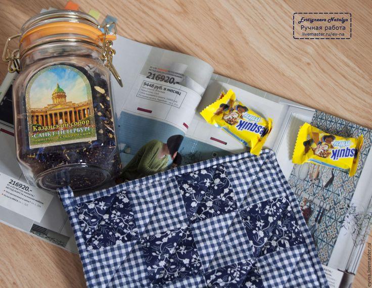 Купить Прихватка Синие квадраты - прихватки, лоскутное шитье, прихватки для кухни, прихватка для кухни