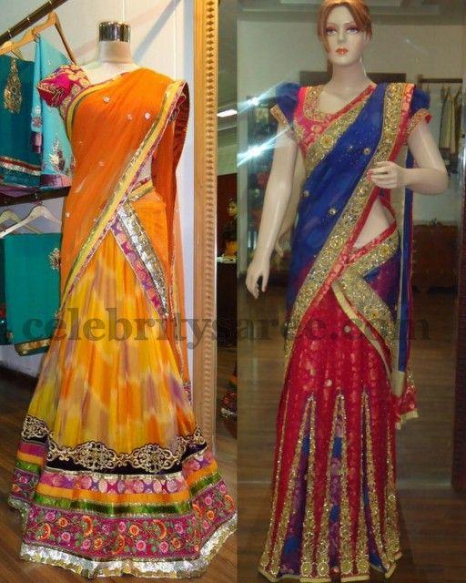 Latest Half Saree Designs | Latest Half Sarees with Work | Saree Blouse Patterns