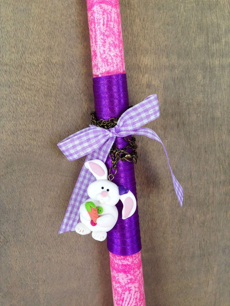 Easter Candle with Bunny Necklace _ Easter Collection _ Special Edition _ Polymer clay by MarisAlley on Etsy