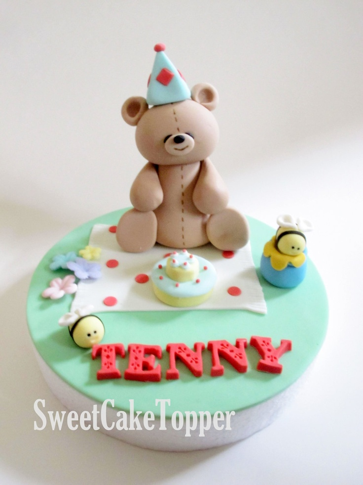 24 best images about teddy cake toppers on pinterest for How to make edible cake decorations at home