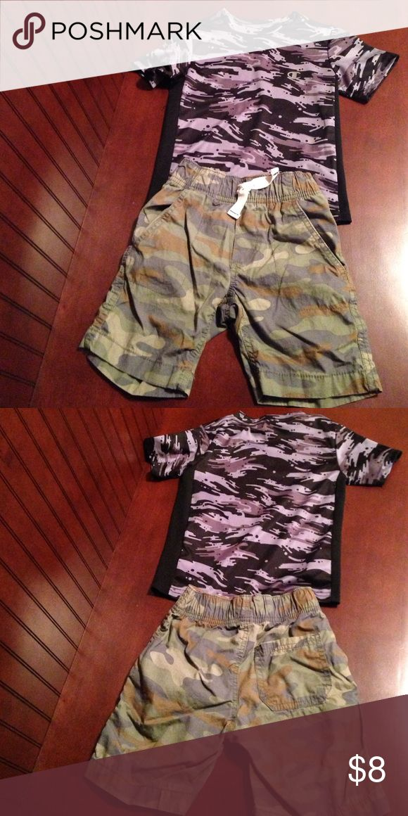 Boys camp outfit size 5 Carters camo shorts boys size 5, elastic waistband drawstring decorative only, shirt is size 5 brand is champion, excellent condition on both, smoke free home carters Bottoms Shorts