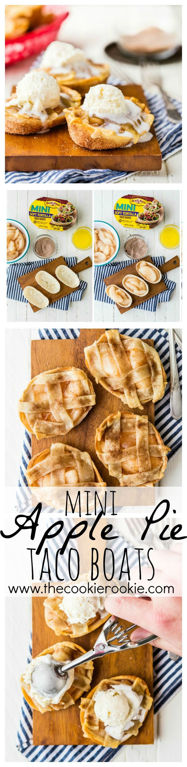 These Mini Apple Pie Taco Boats are made in under 30 minutes, full of flavor, and SO CUTE! Mini Taco Boats filled with apple pie filling and topped with pie crust. Oh and covered in cinnamon sugar for the win!