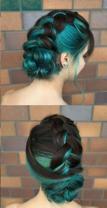 Teal blue braided hair dyed color @liz.colors